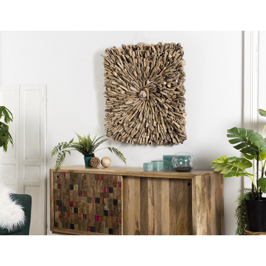 Décoration murale bois carrée bois flotté