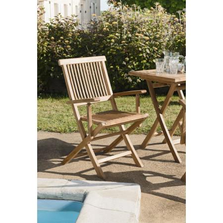 Lot de 2 fauteuils java en bois teck grade A