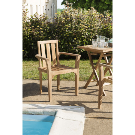Lot de 2 fauteuils empilable mh en teck grade A