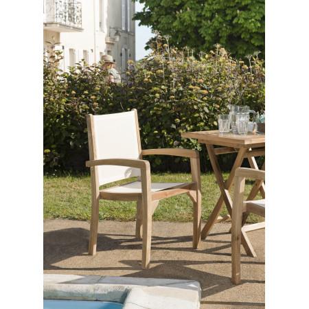 Ensemble de 2 fauteuils de jardin en bois teck...