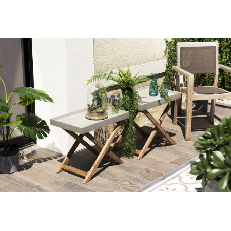 Set de 2 tables basses pliantes de jardin en...