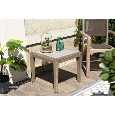 Table d'appoint de jardin carrée béton 53x53 cm...