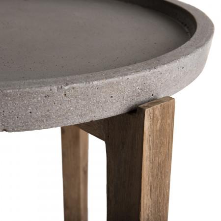 50x50cm Table ronde Acacia béton pieds naturel d'appoint LRc54jq3A