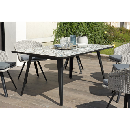 Table rectangulaire 162x102cm plateau carreaux...