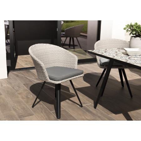chaise de jardin en rotin synthétique gris avec...