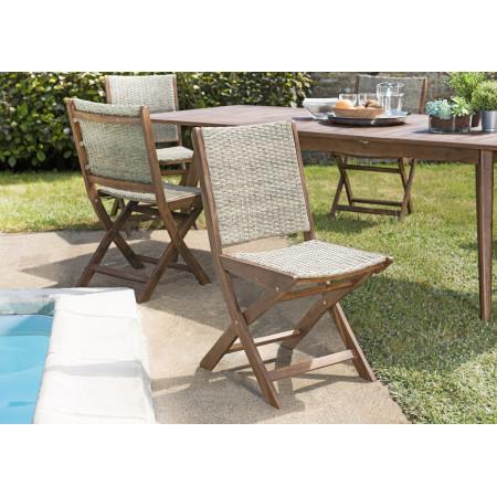 Lot de 2 chaises pliantes bois Acacia et rotin...
