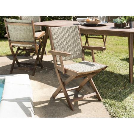 Lot de 2 fauteuils pliants bois Acacia et rotin...