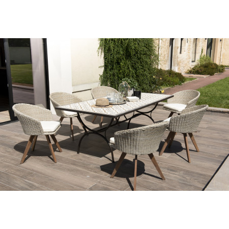 SALON DE JARDIN EN CARREAUX DE CIMENT 8 pers-...
