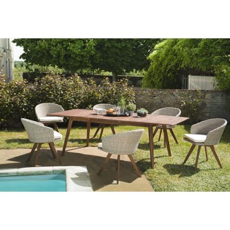 SALON DE JARDIN EN BOIS 8/10 pers - 1 Table...