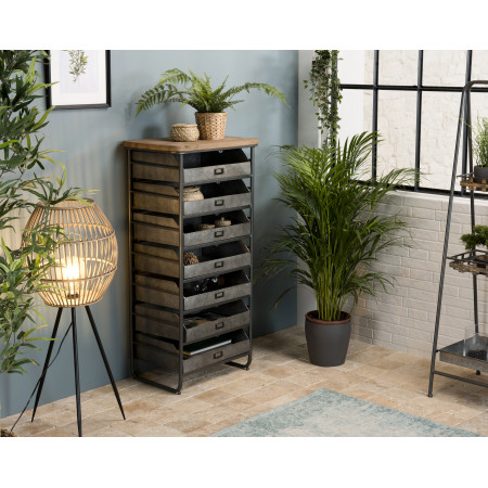 Chiffonnier / meuble 7 tiroirs Zinc plateau...