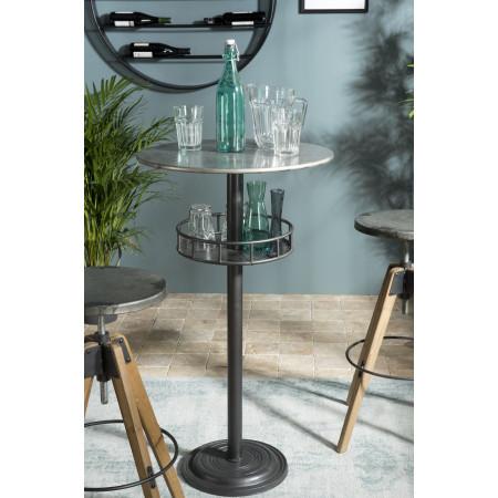 Table de bar ronde plateau Zinc 1 étagère pieds...