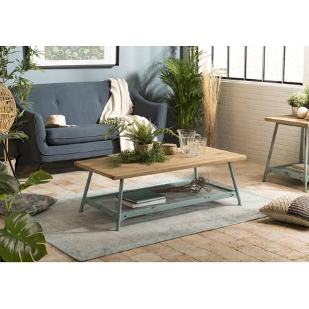 Table basse bois scandi plateau Sapin 1 étagère...