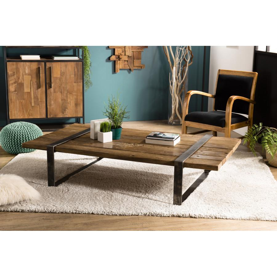 Table Basse Multi Planches Bois Massif Cerclée Métal