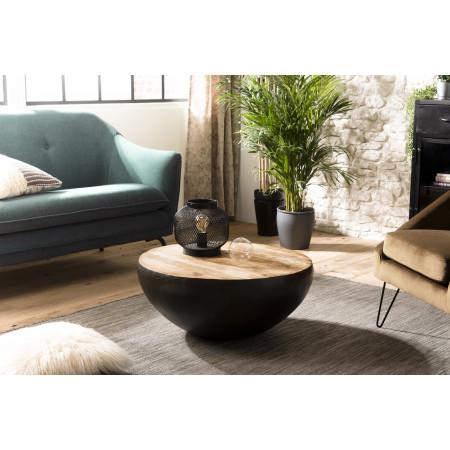 Table basse ronde bois 68x68cm Manguier et métal