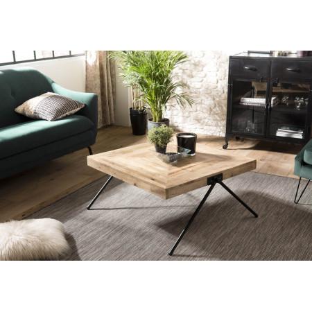 Table basse bois carrée Manguier pieds métal...