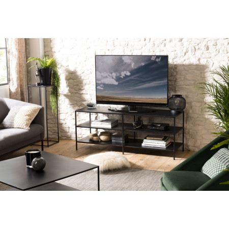 Meuble TV 2 étagères métal industriel