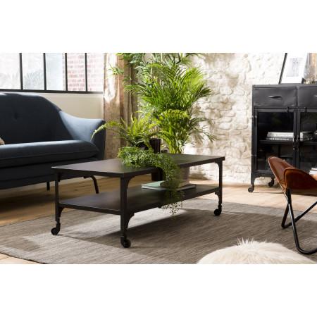Table basse métal noir industrielle double plateau