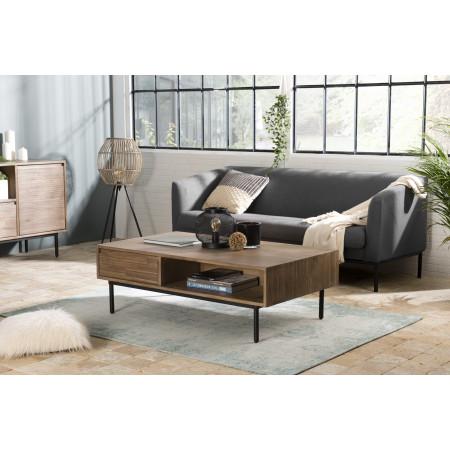 Table basse 2 tiroirs 2 niches Acacia pieds métal