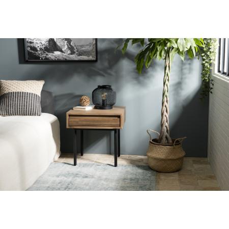 Chevet bois 1 tiroir Acacia pieds métal