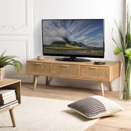 Meuble TV couleur naturel 3 tiroirs cannage