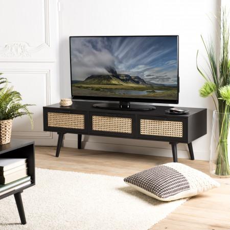 Meuble TV noir 3 tiroirs cannage