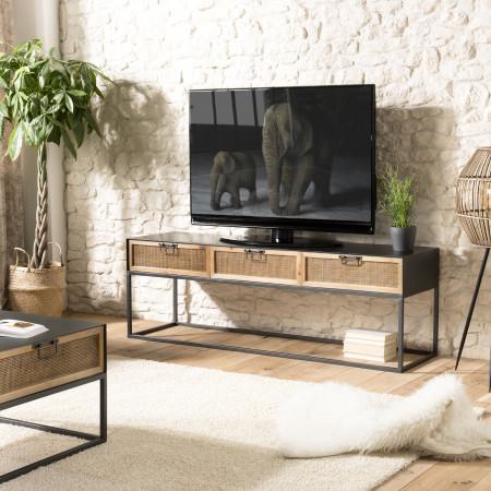 Meuble TV métal 3 tiroirs cannage