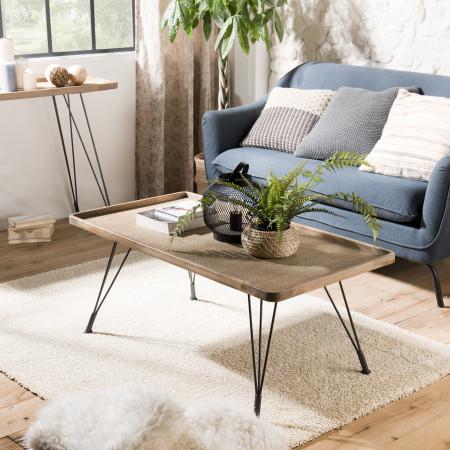 Table basse rectangulaire cannage pieds métal
