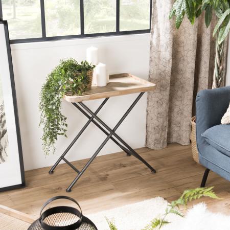 Table d'appoint rectangulaire cannage pieds métal