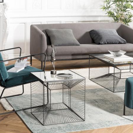 Table d'appoint carrée métal plateau verre