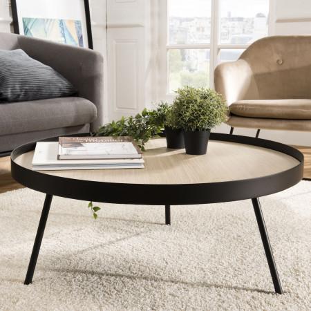 Table basse ronde 85x85cm pieds métal