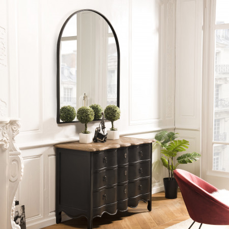 Miroir forme arc métal noir