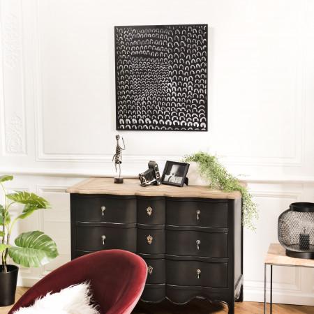 Décoration murale rectangulaire 64x70cm métal noir