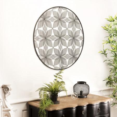 Décoration murale ronde 90x90cm métal noir fleurs
