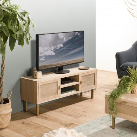 Meuble TV 2 niches 2 portes toile de jute pieds...