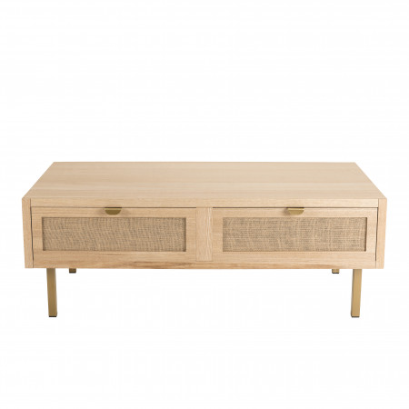 table basse 2 tiroirs toile de jute pieds metal dore