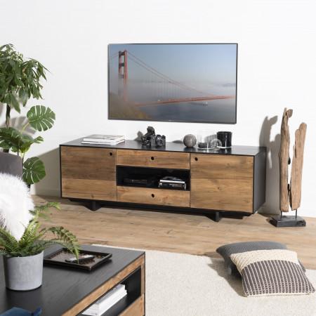 Meuble tv 2 portes 2 tiroirs 1 niche bois Pin...