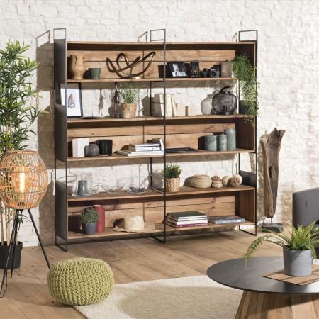 Etagère niche 3 niveaux bois Pin recyclé et métal