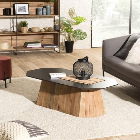Table basse octogonale bois Pin recyclé et...