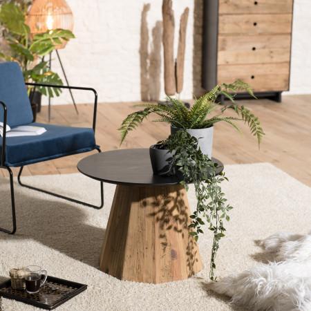 Table d'appoint ronde bois Pin recyclé et...
