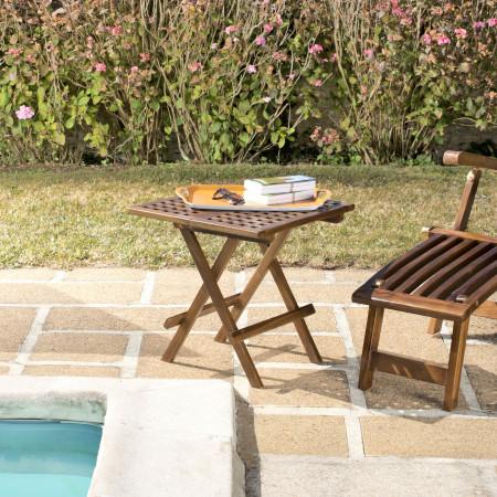 Table pique nique carrée en bois teck huilé