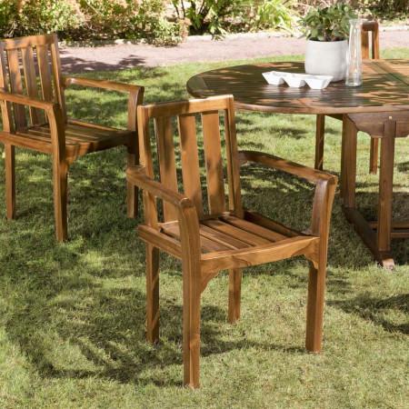 Ensemble de 2 fauteuils empilables en bois teck...