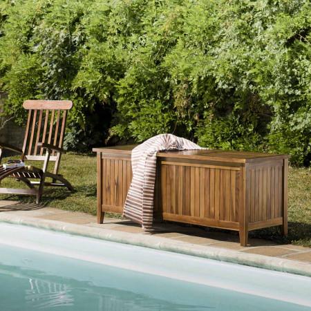 HANNA - Coffre de jardin piscine en bois teck...