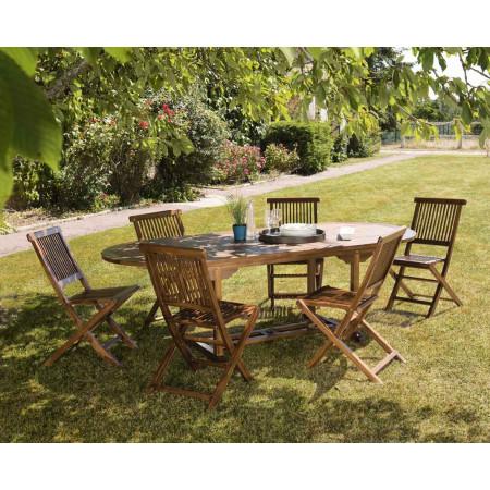 Salon de jardin en bois teck huilé : 1 table...