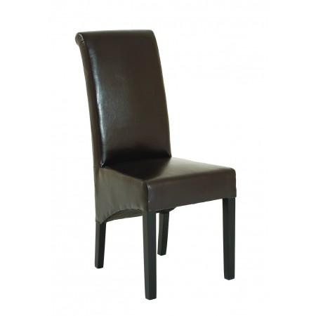 Lot de 2 chaises marron revêtement synthétique