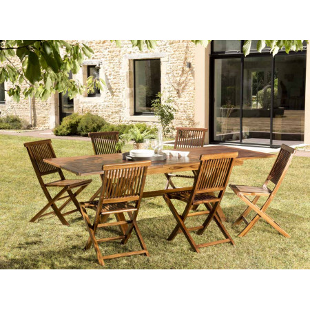Salon de jardin en bois teck huilé: 1 table...