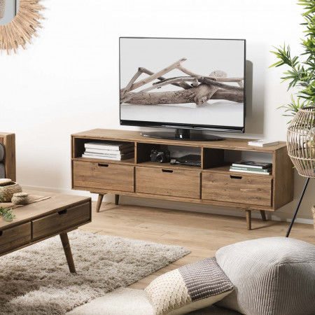 Meuble TV scandi bois 3 tiroirs 3 niches Sapin