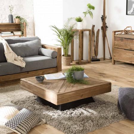 Table basse carrée bois Pin recyclé