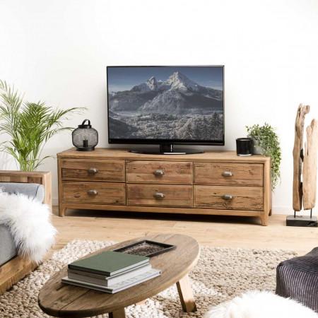 Meuble TV 6 tiroirs bois Pin recyclé