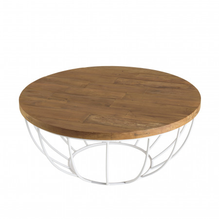 Table basse bois coque blanche 80 x 80 cm