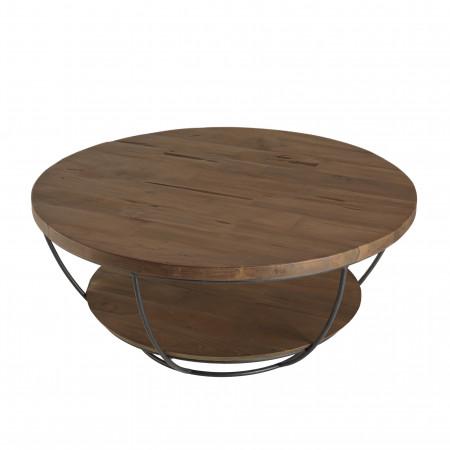 Table basse bois coque noire double plateau 80...